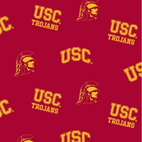 (USC University of Southern California Trojans All Over Cotton Fabric )