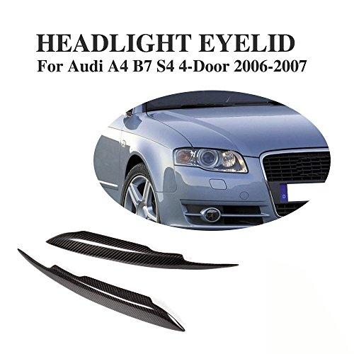 Eyelids Carbon (JCSPORTLINE Carbon Fiber Front Headlight Eyelid Eyebrow Trim for Audi A4 B7 S4 2006-2007)