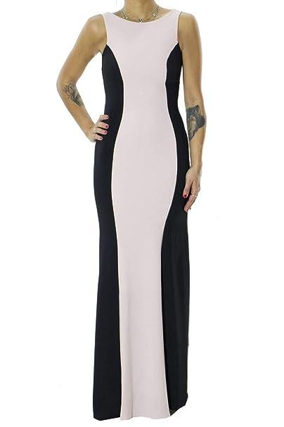 c0b5e2d6b15f RINASCIMENTO LUXURY Abito Donna Elegante da Cerimonia Modello Lungo A  Sirena Bicolore Nero Rosa E Rouches sul Retro Made in Italy