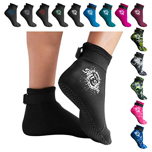BPS 'Soft Skin' 3mm Neoprene Wetsuit Socks w/Grip - Feet Cover for Beach Volleyball, Surfing, Snorkeling, Diving, Kayaking - Low Cut (Black/White, L)