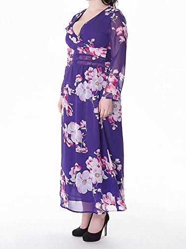 Vestido De Playa Para Mujer Gasa Vestido Mangas Larga De Cóctel Fiesta De Maxi Vestir Azul