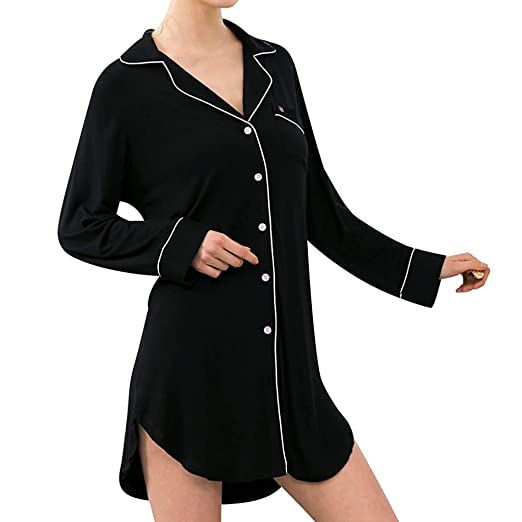 db5c5a7dcd Sexy Nightgown Women s Long Sleeve Nightshirt Boyfriend Sleep Shirt Pajamas  Button-up Lapel Lounge Home