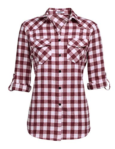 Zeagoo Women's Plaid Flannel Shirt, Roll up Long Sleeve Checkered Cotton Shirt, Wine Red, XX-Large