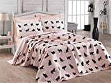 LaModaHome Luxury Soft Colored Full and Double Bedroom Bedding 100% Cotton Super Coverlet (Pique) Thin Coverlet Summer/Black Cat Line Rope Bowtie Animal Pink Background /