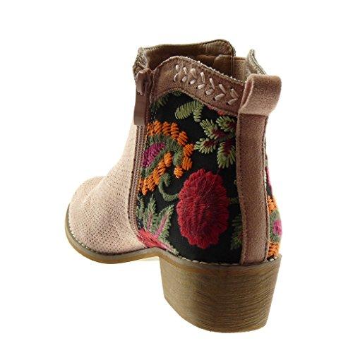 Rosa Zapatillas Botas Mocasines Boots Moda Alto Chelsea Perforado 4 Bordado Angkorly Mujer Pálido Tacón Flores Ancho Botines cm tBqadxw