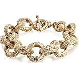 Bling Jewelry Chunky Gold Plated Beaded Link Toggle Bracelet 8in