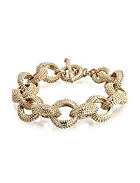 Fashion Statement Chunky Large Oval Link Chain Matt Gold Plated Bracelet for Women Toggle Clasp Closure