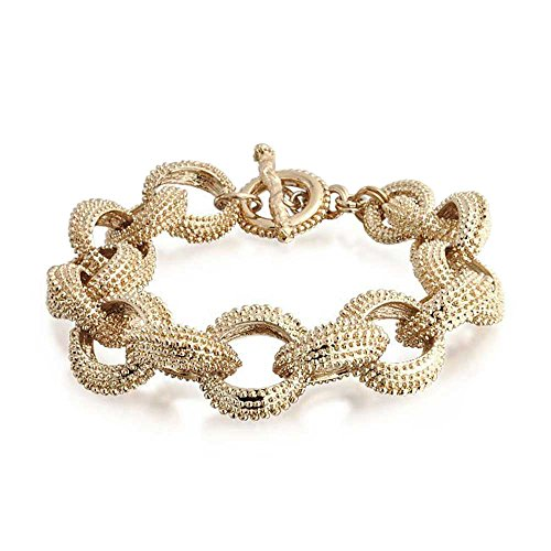 Bling Jewelry Chunky Gold Plated Beaded Link Toggle Bracelet 8in - 8in Toggle Bracelet