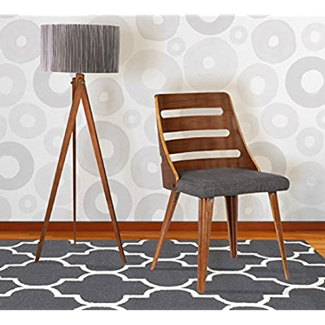 Armen Living LCSTSIWACH Storm Dining Chair In Charcoal Fabric And Walnut Wood Finish