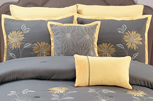 Yellow / Grey Renee Comforter Set Sunflower Embroidery Bed In A Bag King Size Bedding