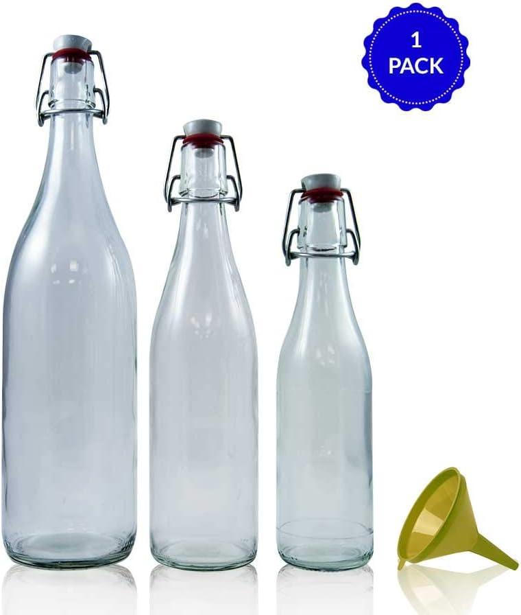 TAPAS & ENVASES RIOJA Botellas de Agua de Cristal Reutilizables sin bpa Botella de Agua Vidrio Reutilizable Pack con Varios tamaños y Embudo para su facil llenado Ideal para Uso domestico
