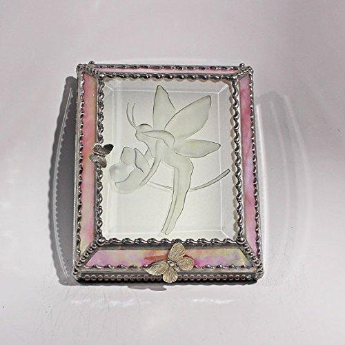 Fairy Stained Glass Jewelry Box, Presentation Box, Keepsake Box, Glass Jewels, Swarovski Crystals, USA Made by Glass Treasure Box