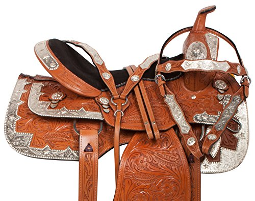 """Leather Western Show Saddle (16"""" PREMIUM WESTERN LEATHER SHOW HORSE SADDLE TRAIL FREE TACK SET BRIDLE REINS BREAST COLLAR (16))"""