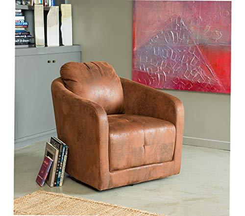 (Office Home Furniture Premium Bernhoft | Aged Microfiber Swivel Club Chair | in Distressed Brown)