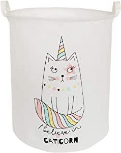 BOOHIT Storage Baskets,Canvas Fabric Laundry Hamper-Collapsible Storage Bin with Handles,Toy Organizer Bin for Kid's Room,Office,Nursery Hamper, Home Decor (Cartoon cat)