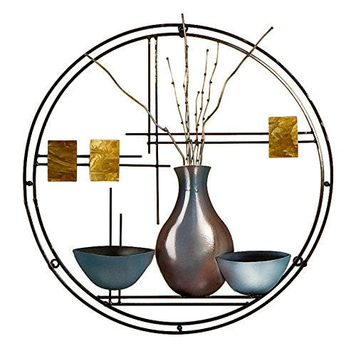 Southern Enterprises Vase and Bowl Hanging Wall Art - Hand Painted Finish - Decorative Circular Shape ()