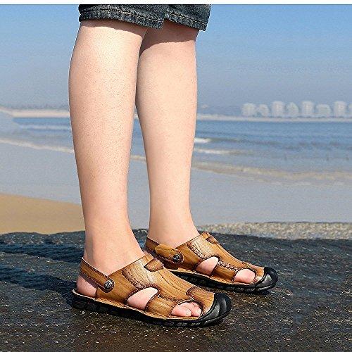 Size Yellow Yellow da traspiranti 40 brown per pelle sandali in tempo Sandali Brown il all'aperto coperto al regolabili uomo la EU sandali per libero e spiaggia Color antiscivolo adatti qBSw4pd
