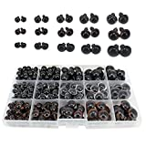 Bestartstore 198pcs 8/10/12/14/16mm Plastic Safety Eyes Black Brown Transparent(1box) 3colors Craft Plastic Eyes DIY Eyes with Washers for Teddy Bear Doll Animal Puppet Crafts