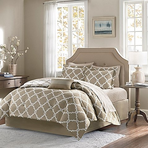 Madison Park Essentials Merritt 9-Piece Reversible Full Comforter Set in Taupe by Madison