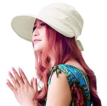 HINDAWI Sun Hats for Women with UV Protection Wide Brim Sun Hat Visor Summer Beach Outdoor Foldable Womens Cap - Beige - for Women