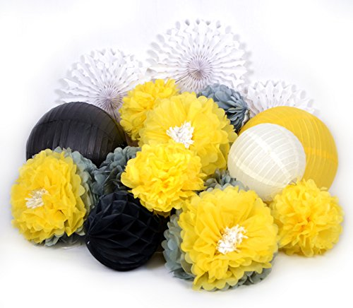 PAPER JAZZ Dual Color Pompom Flower Lantern Paper Pinwheel Fan Party Decoration kit for Wedding Birthday Bridal Shower Baby Shower Home Store Decoration (Black White Yellow Grey)