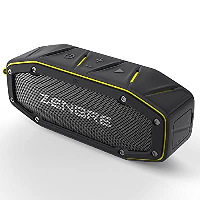 ZENBRE D6 Outdoor Bluetooth4.1 Speakers, Built-in 1000mAh Rechargeable Polymer Battery, 2x Woofer and Enhanced Resnator, Built-in Mic, USB Charging Port, Portable IPX6 Waterproof Speakers