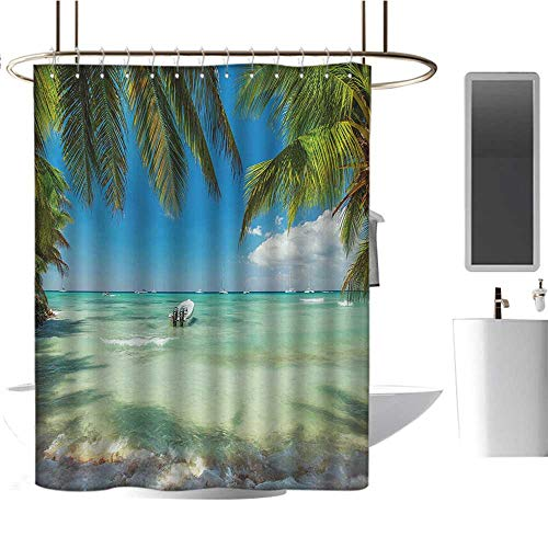 MKOK Bathroom Shower curtain70 x70 Tropical,Surreal Sea Surrounded by Palm Tree Leaves Scenic Nature Summertime,Fern Green Turquoise Blue,Waterproof Washable Antibacterial Bathroom Curtain