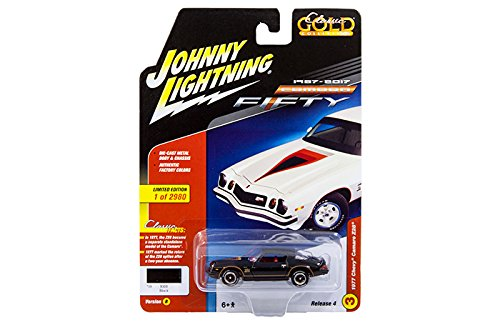 New 1:64 AUTO WORLD JOHNNY LIGHTNING CLASSIC GOLD 2017 COLLECTION - Black 1977 Chevrolet Camaro Z28 Diecast Model Car By Auto World