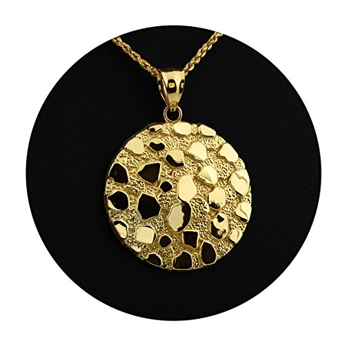 LOVEBLING 10K Yellow Gold Round Nugget Charm Pendant (1.60