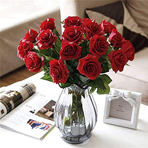 SHENGXIA 10Pcs Real Touch Artificial Silk Rose Flowers Bridal Bouquet Home Party Wedding Decoration Dark Red