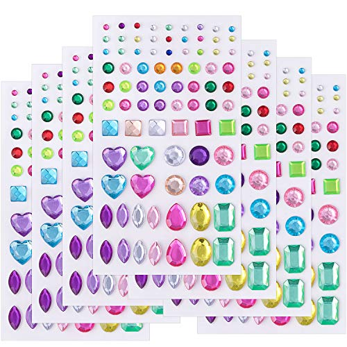 (Self-Adhesive Jewels Stickers Crystal Gem Rhinestone, Assorted Size-7 Sheets)