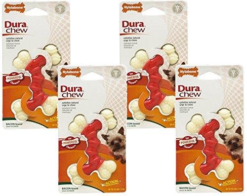 (4 Pack) Nylabone Dura Chew Double Bones, Bacon Flavor - Size Petite/X-Small