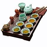 ufengke Exquisita cerámica de Porcelana Kungfu Taza De Té con Tapa Y Bandeja De Té De Madera, E