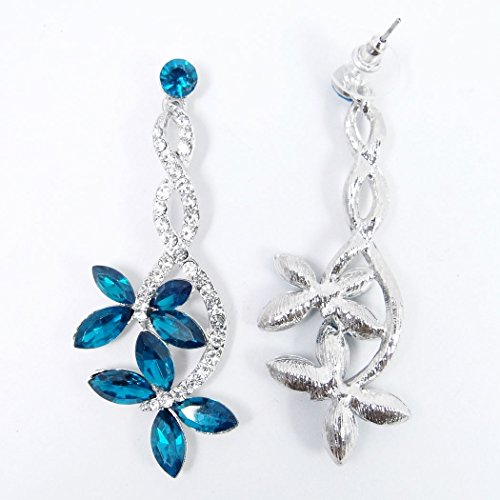 Floreale Cristallo Austriaco tenye Argento Orecchini Blu Farfalla Pendenti Matrimonio fondo Donna q4w7cgA