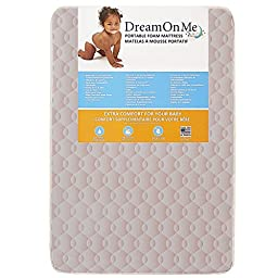 Dream On Me Foam Carina Collection Pack N Play Mattress, Wave Pink, 3\