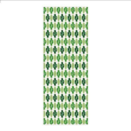(Decorative Privacy Window Film/Traditional Flowers Modern Design Low Poly Effects Symmetry Geometrical Decorative/No-Glue Self Static Cling for Home Bedroom Bathroom Kitchen Office Decor Green Dark Gr)