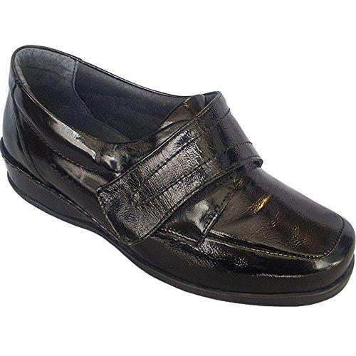 Womens Wardale Patent Velcro Shoes Black c5cK2
