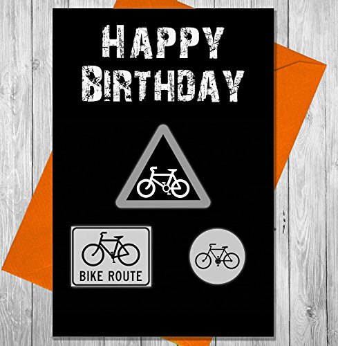 AKGifts Birthday Card Cycling Road Signs - Unique Chalkboard Effect Greeting Card (7 - 10 BUSINESS DAYS DELIVERY FROM UK)