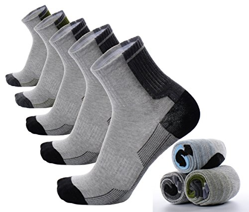 Mens Boys Compression Athletic Ankle Low Cut Socks Grey Gray Running Cycling Walking