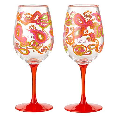 Enesco Designs by Lolita Paisley Acrylic Wine Glasses, Set of 2, 16 oz.