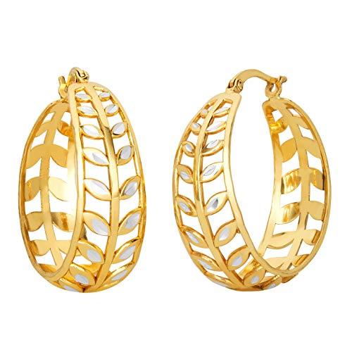 (ELLEN TRACY Jewelry for Women, Sterling Silver Cast Leaf Hoop Earrings)