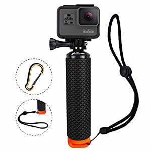 ProFloat Waterproof Floating Hand Grip Compatible with GoPro Camera Hero 5 Session Black Silver Hero 6 5 4 3 2 1 Handler & Handle Mount Accessories Kit & Water Sport Floaty for Action Cameras (Orange)