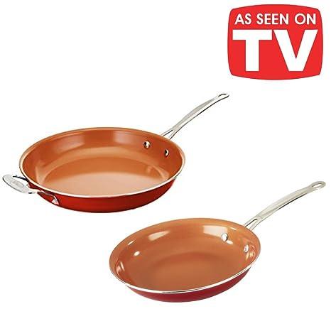 Super Copper Duo - Juego de 2 sartenes de 24 y 28 cm de cerámica y cobre.