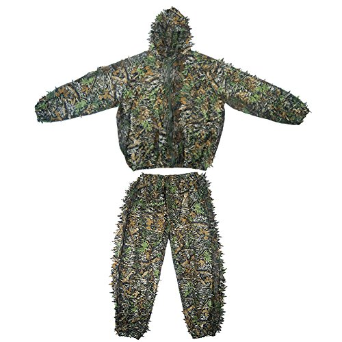 [Ghillie Suit Camo Suit 3D Leaves Woodland Camouflage Clothing Military Clothes and Pants for Hunting ,Shooting, Airsoft, Wildlife Photography or Halloween Lightweight] (Ghillie Suit Costume Youth)