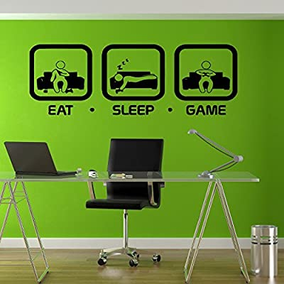 Eat Sleep Game Wall Decal Gaming Geek Nerd Gigaflops Joystick playing Sticker Wall Decal Decor Gamer ps4 xbox Wall art sticker tr212