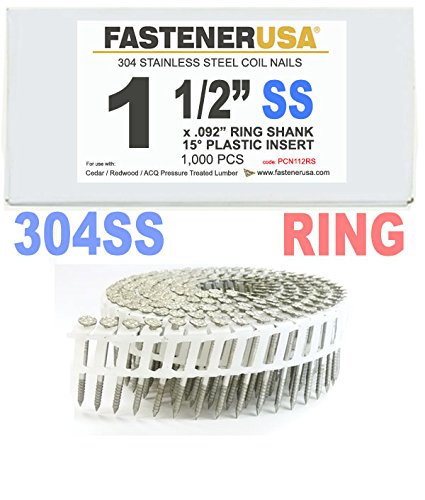 1 1/2'' x .092 RING 304 STAINLESS COIL NAILS 15 DEGREE PLASTIC 1M Box by FastenerUSA (Image #1)