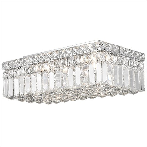 Worldwide Lighting W33528C16 Cascade 4 Light Flush Mount Rectangle Crystal Ceiling Light, Large, Chrome Finish and Clear Crystal, 16