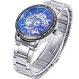 ManChanDa Skeleton Automatic Mechanical Luminous Coated Glass Luxury Men's Wrist Watch Gift (Black Dial)