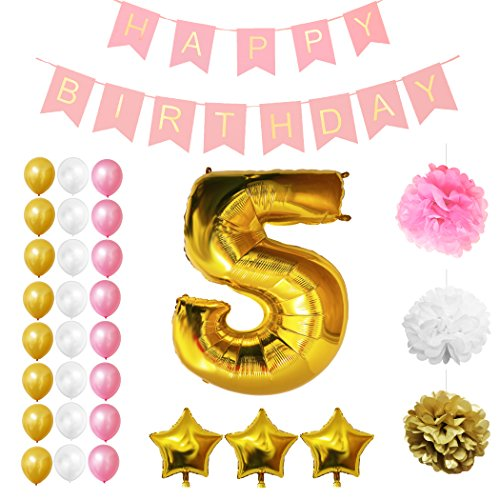 5th Happy Birthday Party Balloons, Supplies & Decorations by Belle Vous - 32 Pc Set - Large 5 Years Foil Balloon 12