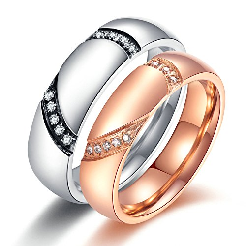 Aooaz 1 Pair Rings For Women Men In Love Stainless Steel Rings Silver Rose Gold Heart Cubic Zirconia Rings Free Engraving Womens 7 & Men 10 Novelty Jewelry Gift